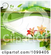 Clipart Background Of A Ladybug Dew And Lily Flowers Royalty Free Vector Illustration by merlinul