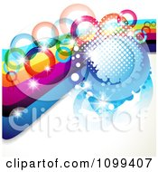 Clipart Background Of A Rainbow Waves With Colorful Rings Halftone And Magic Sparkles Royalty Free Vector Illustration