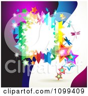 Clipart Background Of A Rainbow Frame With Dragonflies Stars And Dots Over Waves Royalty Free Vector Illustration by merlinul