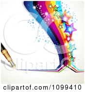 Clipart Background Of A Fountain Pen Drawing A Rainbow With Colorful Sparkly Stars Royalty Free Vector Illustration