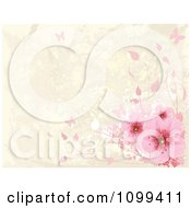 Pink Cherry Blossoms And Butterflies Over Beige Grunge With Copyspace