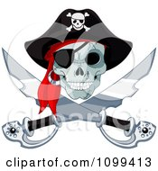 Clipart Pirate Skull And Crossed Swords Jolly Roger Royalty Free Vector Illustration by Pushkin