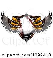 Clipart Eagle Talons Grabbing A Baseball And A Winged Shield Royalty Free Vector Illustration