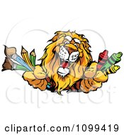 Clipart Happy Lion Mascot Holding Out Art Crayons Paintbrushes And Pencils Royalty Free Vector Illustration