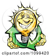 Clipart Happy Yellow Light Bulb Mascot Holding Renewable Solar Energy Arrows Royalty Free Vector Illustration by Chromaco