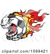 Clipart Screaming Flaming Soccer Ball Mascot Character Royalty Free Vector Illustration