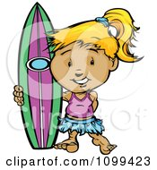 Happy Blond Surfer Girl Standing With Her Board