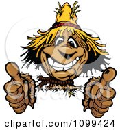 Clipart Happy Scarecrow Smiling And Holding Two Thumbs Up Royalty Free Vector Illustration