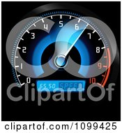 Clipart Blue And Red Car Speedometer Royalty Free Vector Illustration by dero
