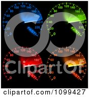 Blue Green Red And Orange Car Speedometers
