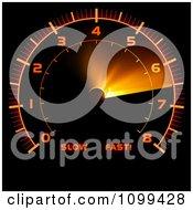 Clipart Orange Illuminated Car Speedometer Royalty Free Vector Illustration by dero
