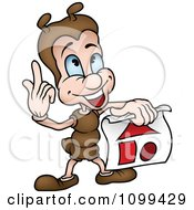 Clipart Smart Ant Discussing Shapes Royalty Free Vector Illustration by dero