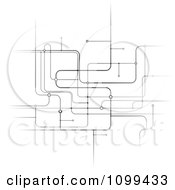 Clipart Black And White Network Of Circuits Royalty Free Vector Illustration