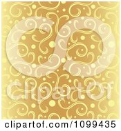 Clipart Ornate Orange Background Of Yellow Swirls And Dots With Faded Sides Royalty Free Vector Illustration