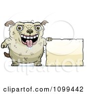 Clipart Ugly Dog Holding A Sign Royalty Free Vector Illustration by Cory Thoman