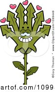 Clipart Marijuana Pot Leaf Mascot In Love Royalty Free Vector Illustration by Cory Thoman
