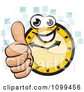Clipart Happy Clock Holding A Thumb Up Over Blue Tiles Royalty Free Vector Illustration