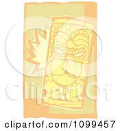 Clipart Woodcut Smiling Tiki With Beige And Orange Royalty Free Vector Illustration by xunantunich