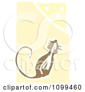 Clipart Woodcut Styled Mouse And Cheese Wedge Over Pastel Yellow Royalty Free Vector Illustration by xunantunich