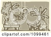 Woodcut Depiction Of A Mayan King Smoking And Artist Drawing In Brown Tones by xunantunich