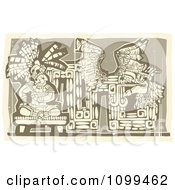Woodcut Depiction Of A Mayan King And Abstract Art In Brown Tones by xunantunich