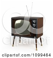 Clipart 3d Retro Box Television With Wood Veneer On White Royalty Free CGI Illustration