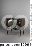 Clipart 3d Retro Box Television With Wood Veneer On Gray Royalty Free CGI Illustration