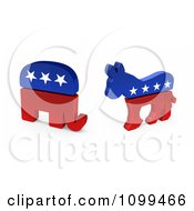 3d Democratic Political American Donkey And Republican Elephant