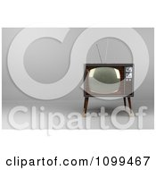 Clipart 3d Retro Box Television With Wood Veneer On Gray With Copyspace To The Left Royalty Free CGI Illustration