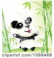 Clipart Happy Wild Panda In A Bamboo Forest Royalty Free Vector Illustration