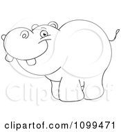 Clipart Happy Outlined Cute Baby Hippo Royalty Free Vector Illustration