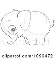 Clipart Happy Outlined Cute Baby Elephant Royalty Free Vector Illustration