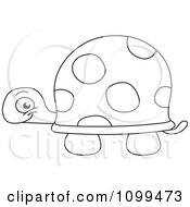 Clipart Happy Outlined Cute Baby Tortoise Royalty Free Vector Illustration