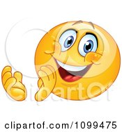 Clipart Happy Emoticon Clapping And Smiling Royalty Free Vector Illustration