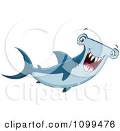 Clipart Happy Hammerhead Shark Smiling Royalty Free Vector Illustration