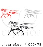 Clipart Red Gray And Black Horses Trotting Royalty Free Vector Illustration
