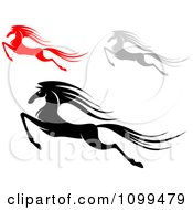 Clipart Red Black And Gray Leaping Horses Royalty Free Vector Illustration