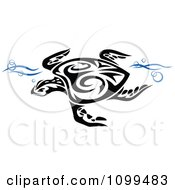 Black And White Swimming Tribal Sea Turtle With Blue Waves