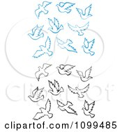 Clipart Blue And Black Outlined Doves Flying Royalty Free Vector Illustration by Vector Tradition SM