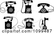 Clipart Retro Black And White Desk Telephones Royalty Free Vector Illustration