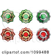 Clipart Green And Red Badge Labels Royalty Free Vector Illustration