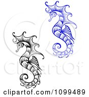 Clipart Ornate Black And White And Blue Seahorses Royalty Free Vector Illustration by Vector Tradition SM