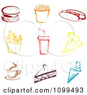 Clipart Colorful Fast Food Icons Royalty Free Vector Illustration by Vector Tradition SM