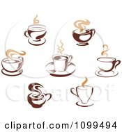 Clipart Steamy Brown Coffee Icons 4 Royalty Free Vector Illustration