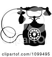 Clipart Retro Black And White Desk Telephone 1 Royalty Free Vector Illustration