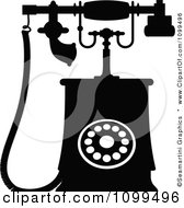 Clipart Retro Black And White Desk Telephone 2 Royalty Free Vector Illustration by Vector Tradition SM