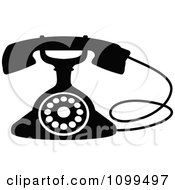 Clipart Retro Black And White Desk Telephone 3 Royalty Free Vector Illustration