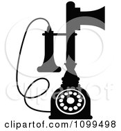 Clipart Retro Black And White Desk Candlestick Telephone Royalty Free Vector Illustration