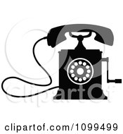 Clipart Retro Black And White Desk Crank Telephone Royalty Free Vector Illustration