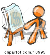 Orange Business Man Standing By A Dollar Sign Puzzle On A Presentation Board During A Meeting Clipart Illustration